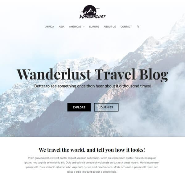 Travel Blog Theme
